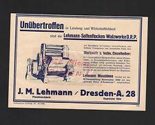 DRESDEN, Werbung 1930, J. M. Lehmann Seifen-Flocken-Walzwerke
