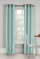 "Two (2) Aqua Blue Window Curtain Panels: Faux Silk, Silver Grommets, 76"" x 84"""