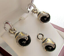 SALE !  SUPERB ENAMEL PENDANT and EARRINGS SET STERLING SILVER 925 GENUINE ONYX