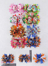 "Handmade 8pc 5"" Princess Hair Bows Halloween Christmas Hair Accessories 2023-7-K"