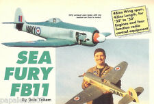 "Model Airplane Plans (RC): Hawker Sea Fury FB11 Scale 48"" for .35 - .50 Engines"
