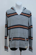 MENS HOLLISTER HOODIE HOODY JUMPER SWEATSHIRT 100 % COTTON GREY STRIPED XLARGE