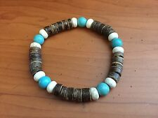 SURFER STRETCH BEAD MEN BRACELET WITH WOOD AND TURQUOISE BEADS