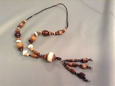 African-Arena Handmade Large Wood Beads Cow Bone Horn Beads Long Necklace AA-27