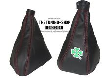 "For Alfa Romeo 155 Gear & Handbrake Gaiter Black Leather ""Clover"" Embroidery"