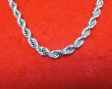 "MENS 30"" 14KT WHITE GOLD EP 7MM ROPE HIP HOP BLING CHAIN NECKLACE"