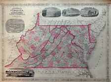 JOHNSON'S VIRGINIA DELAWARE MARYLAND WEST incisione 1866 cartina STATI UNITI MAP