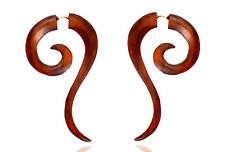 Tibetan Handmade Wooden Craft Tribal African Wood Fake Gauge Brown Erring WER179