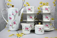 Lovely vintage Seltmann Weiden porcelain COFFEE SET including pot. Pink Roses.