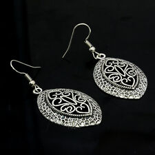 1 Pair Tibetan Silver Hoop Dangle Earrings Hollow Out Tracery Women Vintage Gift