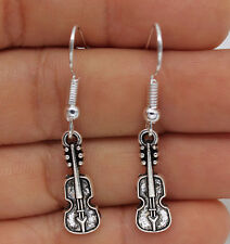 925 Silver Plated Hook - 1 Pair 1.6'' Violin Musical instruments Earrings #01
