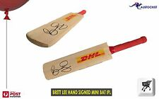IPL Brett Lee Hand Signed Mini Cricket Bat during an IPL season Mint Condition