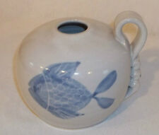 Beautiful Art Pottery Handled Jug with Blue Koi Fish - Signed