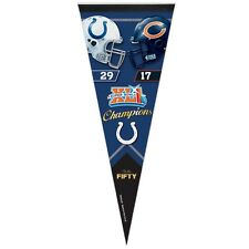 """INDIANAPOLIS COLTS CHICAGO BEARS SUPER BOWL XLI PAST CHAMPION PENNANT 12""""x30"""""""