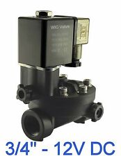 """3/4"""" Inch PA66 Plastic Electric Air Water Solenoid Valve Manual Override 12V DC"""