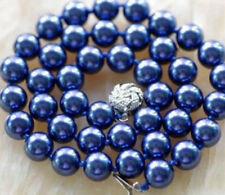 """Beautiful 10MM Navy blue Sea Shell Pearl Necklace 18"""""""