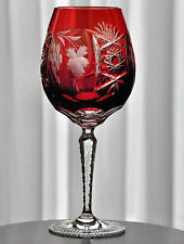 """Nachtmann Traube Ruby Cut to Clear Cased Crystal Red Wine Balloon 9 3/4"""""""