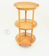 "Vintage Wicker Rattan Plant Stand 3 Tier Shelf 31"" Tall Storage Kitchen Bath"