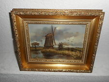 Old oil painting,{ landscape with a windmill, is signed, nice frame! }.