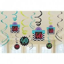 PACK 12 40TH BIRTHDAY SWIRLS HANGING PARTY DECORATIONS CHEVRON 40 FORTY