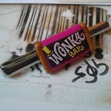 Unique! WONKA BAR TIE CLIP chrome CHOCOLATE factory CANDY MAN pink COOL GIFT