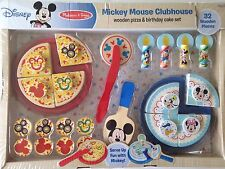 Mickey Mouse Clubhouse Wooden Pizza Birthday Cake Set 32pc Melissa & Doug Disney