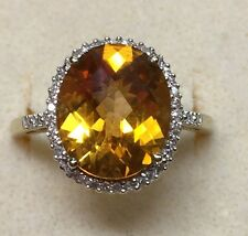 6 ctw Natural (REAL) DIAMOND & citrine topaz Ladies RING solid yellow gold