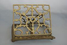 Vintage Brass Book Stand Holder Rack Easel Adjustable Folding Bible Cookbook