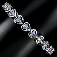 Sterling Silver 925 Genuine Natural Tanzanite Heart Design Bracelet 7 Inches