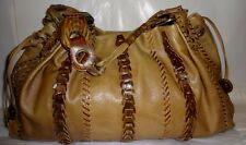Extra Large Soft Tan & Brown Woven Leather Handbag by Isabella Fiore
