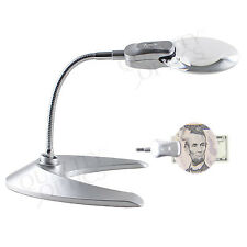 LED ILLUMINATED MAGNIFYING GLASS WORK DESK BENCH TOP MAGNIFIER LAMP CORDLESS