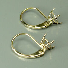 Solid 14K yellow gold mounting leverback earrings finding