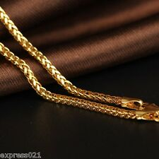 Best Pure Solid 18K Yellow Gold Necklace/ Wheat Link Chain Necklace / 5.3-5.6g