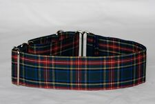 "2"" Martingale Collar Dark Blue, Green, Red and Gold Plaid"