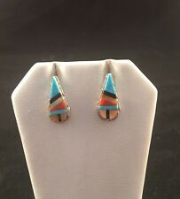 Native American Zuni Handmade Multi Stone And Sterling Silver Inlay Earrings