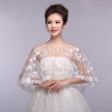 New Bridal Shawl Wedding Jacket Wrap Rhinestone Stole Shrug Bolero Lace Cape