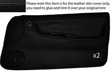 BLACK STITCH 2X FULL DOOR CARD LEATHER COVER FITS NISSAN S13 200SX 180SX 88-93
