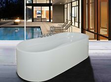 New Soaking Bathtub Acrylic White Pedestal Bath Tub W/Faucet Bathroom Shower