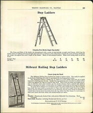1905 ADVERTISEMENT Milbrant Rolling Step Ladder Store Library Steel Track Oak