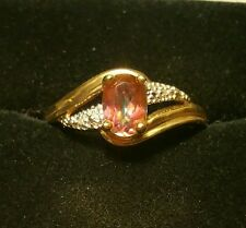 Stylish Fine Art-Deco Vintage 9CT Gold Diamond & Mystic Topaz Ring Size P