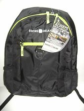 SwissGear Back-Pack For Back To School - Book Bag - Black & Trim Green NWT