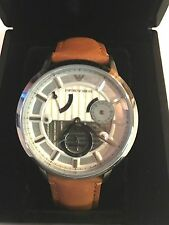 New EMPORIO ARMANI Meccanico Silver Brown Leather   Automatic Watch AR4681 $495