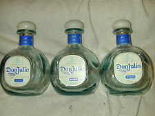 (3) DON JULIO 750ML BLANCO WHITE TEQUILA BOTTLES (EMPTY) W/TOPS  USED RECYCLED