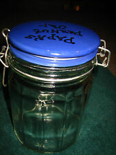 """CLEAR GLASS PAPA'S PEANUT JAR WITH BLUE TOP~SO CUTE~MUST SEE~APPROX. 5 3/4"""" TALL"""