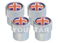x4 Union Jack Design CHROME VALVE DUST CAPS MINI COOPER R50 R52 R53 R56 R57 R60