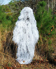 GHILLIE SUIT WHITE SNOW CAMO WINTER 'PONCHO' HUNTERS PAINTBALL MILITARY STEALTH