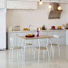 Dining Set 4 Chairs And Table Small Kitchen MDF Wood Modern White Home Hot Item