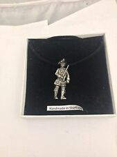 Calico Jack Pirate Figure WE-PKR3 Pewter Pendant on a  BLACK CORD  Necklace