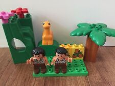 LEGO DUPLO Lot of 2 CAVEMAN Figures & 1 Dinosaur  RARE 13 Pieces