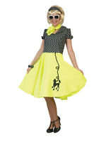 Yellow 50s Poodle Fancy Dress Costume Rock n Roll Hop Grease Womens Ladies New